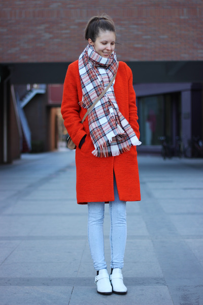 red Topshop coat