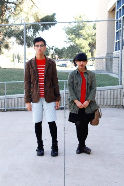 dark brown jacket - army green jacket - red shirt - red shirt - off white shorts