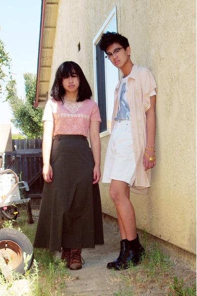 pink shirt - green skirt - white shorts - beige cotton on shirt - white cotton o