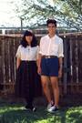 Black-skirt-blue-shoes