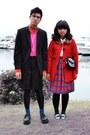 Red-little-girl-kohls-coat-black-calvin-klein-blazer-red-h-m-shirt-off-wh