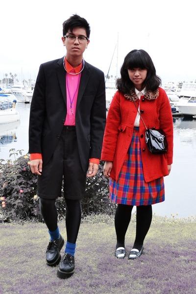 red little girl  kohls coat - black calvin klein blazer - red H&M shirt - off wh