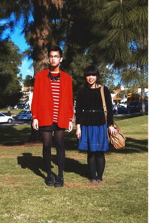 navy denim dress - black sweater - red blazer - red striped Forever 21 shirt - c