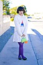 White-t-shirt-bubble-gum-shirt-purple-tights-chartreuse-bag-black-pants