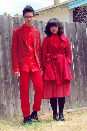 red el dorado blazer - black creepers TUK shoes - red Forever 21 coat