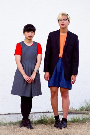 heather gray dress - carrot orange dress - light orange H&M shirt - navy shorts