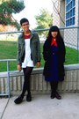 navy Grandmas dress - navy Forever 21 coat - ivory H&M accessories - brick red C
