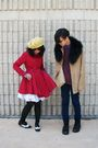 Red-forever-21-coat-black-h-m-scarf-black-h-m-gloves-yellow-hat