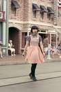 Black-shorts-light-pink-american-apparel-dress-blue-denim-shirt