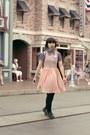 Black-shorts-light-pink-american-apparel-dress-blue-denim-shirt