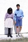 Black-shoes-white-shoes-blue-shirt-purple-shirt-blue-shorts-white-skir