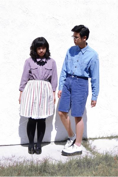 black shoes - white shoes - blue shirt - purple shirt - blue shorts - white skir