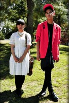 white Anthropologie dress - red H&M hat - red blazer - black Urban Outfitters ve
