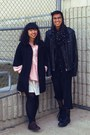 Black-scarf-black-forever-21-coat-black-h-m-jacket-pink-thrift-shirt-egg