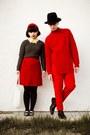 Red-h-m-sweater-dark-gray-gap-sweater-black-h-m-hat