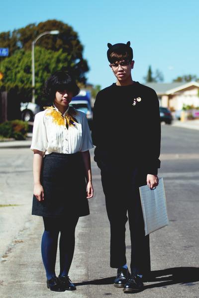 black hat - navy Target tights - black ottoman American Apparel sweatshirt