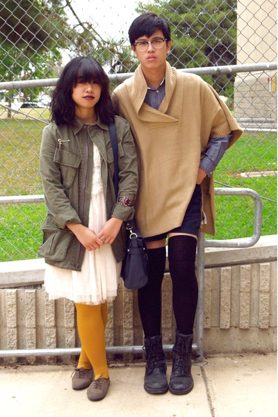 blue Old Navy shirt - white Forever 21 dress - beige camel poncho H&M sweater