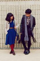 beige polka dot H&M blazer - blue dress - black leather H&M jacket