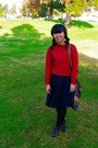 Ruby-red-sweater-navy-skirt-dark-brown-boots-black-shirt-black-pants-b