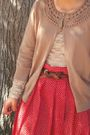 Blue-kohls-jeans-red-skirt-black-shirt-beige-gap-jacket-beige-cardigan-