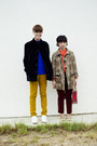 Blue-shirt-carrot-orange-shirt-camel-leopard-coat-black-corduroy-coat