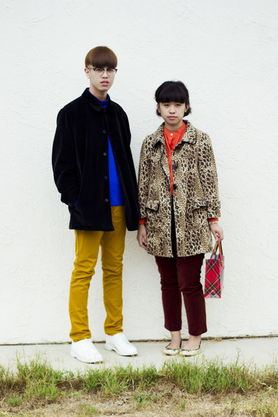 blue shirt - carrot orange shirt - camel leopard coat - black corduroy coat