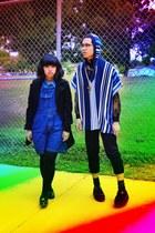 blue poncho Forever 21 cape - blue Cherokee jumper - black baseball pants