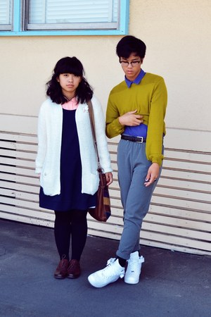 navy dress - chartreuse sweater - light pink shirt - purple shirt