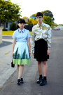 olive green camouflage Topman shirt - light blue Anthropologie skirt
