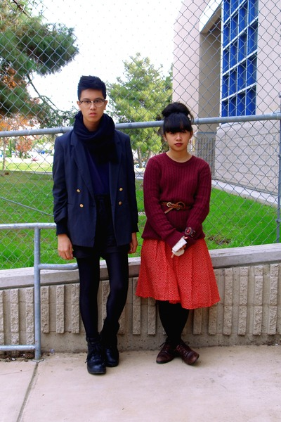 navy Grandmas jacket - red skirt - maroon sweater - black H&M shorts