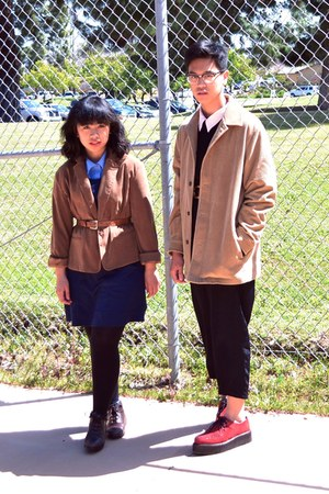 brown blazer - navy H&M dress - camel corduroy Liz Claibourne coat