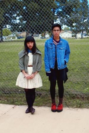 red creeper Demonia shoes - cream lace Forever 21 dress - blue denim jacket - ar