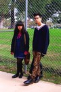 Black-dr-martens-boots-navy-h-m-sweater-dark-gray-thrifted-blazer-hot-pink