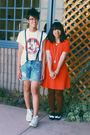 Orange-dress-white-shirt-blue-shorts-brown-hue-tights-black-forever-21-s