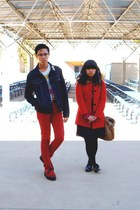 red little girl  coat - red Levis jeans - navy jacket - white keith haring Urban