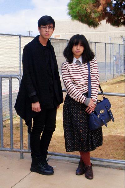 black H&M vest - black H&M blazer - black Levis jeans - beige thrifted sweater -