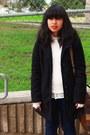 Red-demonia-shoes-dark-gray-blazer-camel-forever-21-shirt-black-coat-cre