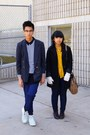 Black-coat-navy-jeans-dark-gray-blazer-mustard-shirt-navy-striped-shirt-