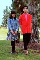 dark brown boots - sky blue denim jacket - red blazer - bubble gum mesh American