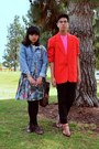dark brown boots - sky blue denim jacket - red blazer - bubble gum mesh American