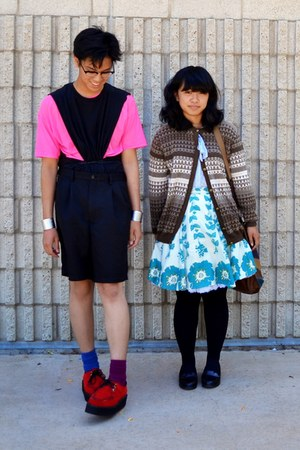 red shoes - brown sweater - bubble gum shirt - blue socks - turquoise blue skirt
