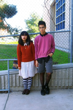 striped Sock Theory tights - lace Target tights - cotton on dress - sweater