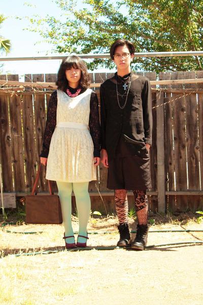 white lace Forever 21 dress - purple Marshalls shoes - black sheer H&M shirt