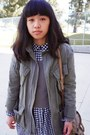 Black-gingham-dress-dark-gray-pointe-west-coat-army-green-urban-outfitters-j