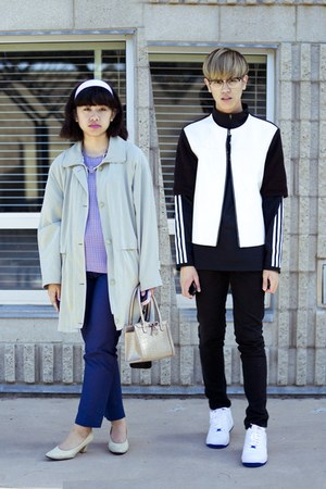 white Marni at H&amp;M jacket - navy H&amp;M pants
