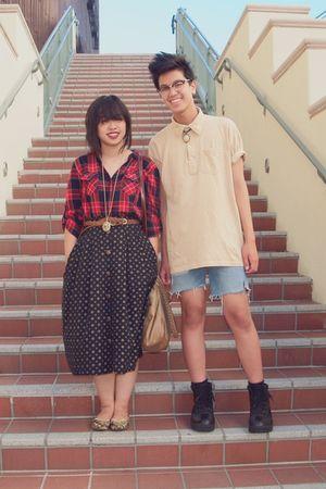 black skirt - red Forever 21 shirt - beige American Apparel shirt - blue shorts