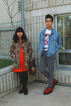 carrot orange dress - brown H&M coat - black Target loafers - red Demonia shoes