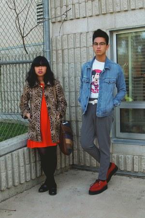 carrot orange dress - brown H&M coat - black Target loafers - red Demonia shoes
