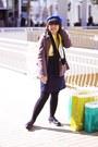 Light-brown-american-apparel-coat-blue-h-m-hat-yellow-h-m-scarf