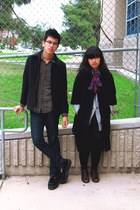 forest green Urban Outfitters shirt - navy Levis jeans - dark gray jacket - blac